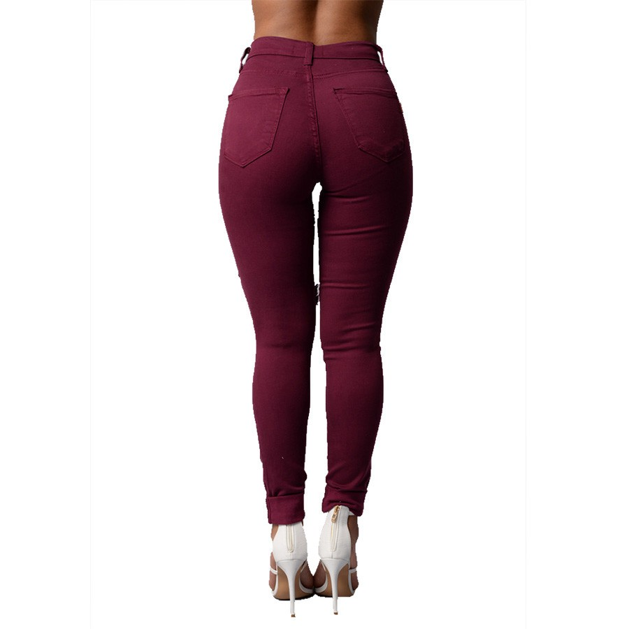 New Fashion Jeans Ladies Burgundy Cotton Denim Pants Stretch Womens Washing Ripped Skinny Jeans Denim Jeans For Female