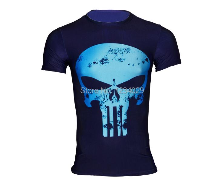 2015 new the punisher Skeleton male speed dry clothing fitness leisure T-shirt man riding short-sleeved t-shirts(China (Mainland))