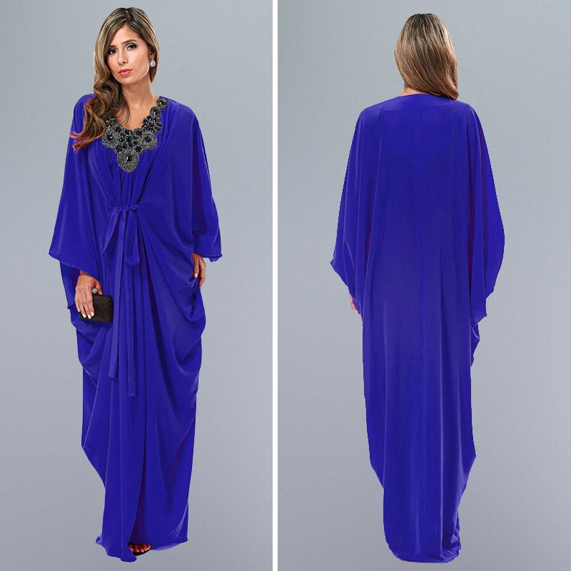 2016 quality latest arab ladies caftan fashion blue women abaya in dubai kaftan muslim dress islamic clothing(China (Mainland))