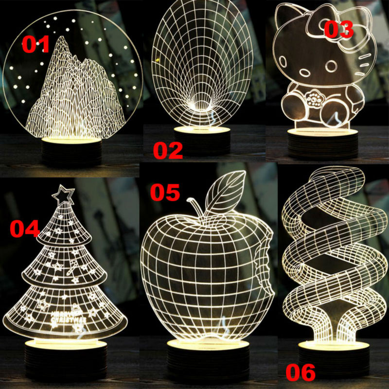 2016 Lamparas 3D Led Night Light Mood Lamp for Holiday Lamp 3D Bulbing Light USB Wood base Lamp Color Changing As Gift(China (Mainland))
