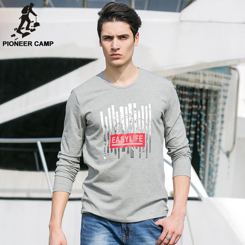 Pioneer Camp Autumn Mens Long Sleeve Tshirt Brand Tracksuit Men Long-Sleeved T-Shirt Men Crewneck Printed Hoodies Gray 620031(China (Mainland))