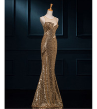Sexy Gold Sequins Evening Dresses 2016 Mermaid Prom Dresses Illusion Back Side Zipper Fancy robe de soiree Real Photos