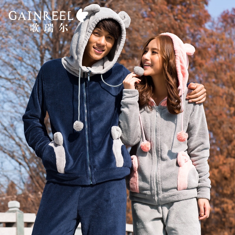 Song arrail coral fleece lovers fashionable casual long-sleeve sleepwear male women's lounge set(China (Mainland))
