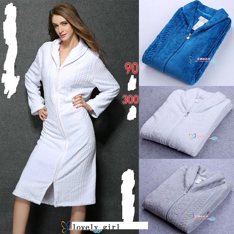 Cotton robe with zipper
