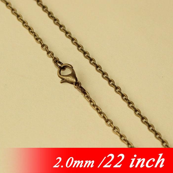 "Здесь можно купить  Fashion Necklace Links With Lobster Clasps 22"" Antique Bronze Tone For 2mm Metal Flat Cable Jewelry Chains Pendants Accessories  Ювелирные изделия и часы"