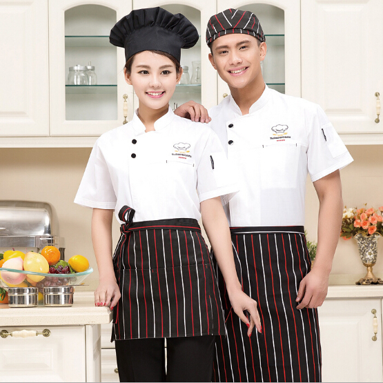 Chef Clothing Hotel Restaurant Chefs Work Clothes Short Sleeve Chef Jacket Chef Uniform Combed Food Service Customized(China (Mainland))