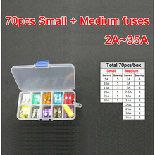 70pc Assorted Small&Medium Middle Blade Fuse 2A 3A 5A 7.5A 10A 15A 20A 25A 30A 35A Auto Car Truck Motorcycle FUSE Box Kit - DIS Tools---Do It Simple store