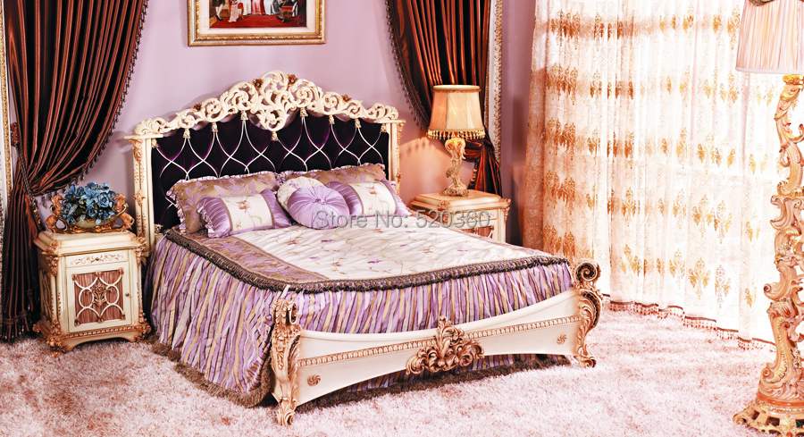 Luxury European Style Woodcarving Bed And Night Table Bedroom Set In Bedroom