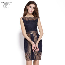 ElaCentelha Brand Dress Summer Women High Quality Embroidery Print Dress Casual Sleeveless Slim Waist Women's OL Office Dresses(China (Mainland))