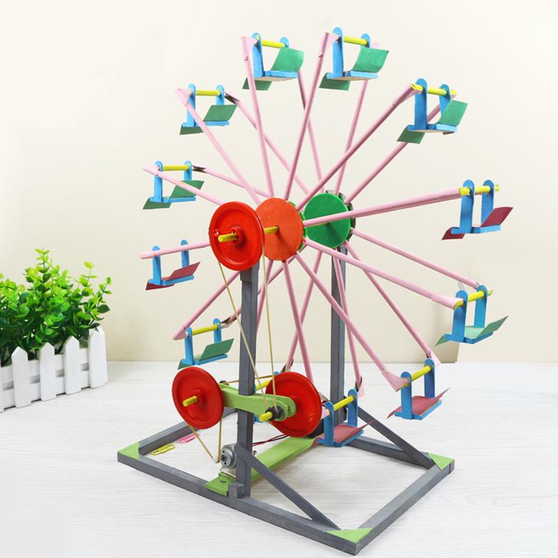 1 Set Educational children's DIY 3D Ferris Wheel Wooden Jigsaw Puzzles Model buildings Handicraft baby kids Creative Toys Gifts(China (Mainland))