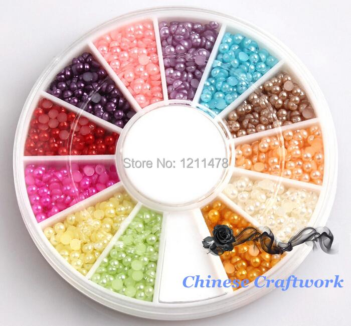 2mm mixed color ABS semicircle 3d nail art pearl rhinestones gems for nail decoration(China (Mainland))
