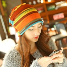 New Women Multifunction Colorful Striped Hat France Cashmere Autumn Winter Fashion Scarf Hat Hot Sale Girl All Match Cap
