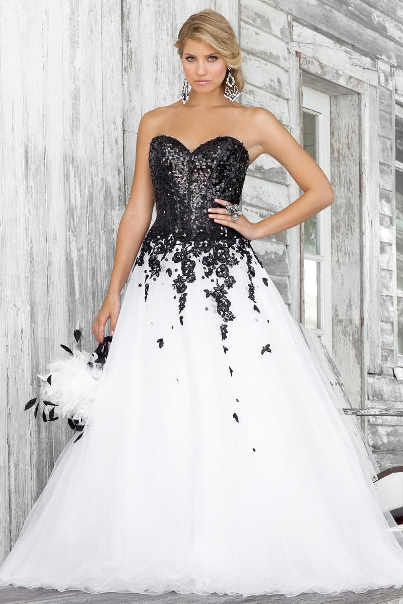 White and Black Masquerade Ball Dress Beaded Lace Tulle Floor Length Quinceanera Ball Gown ...