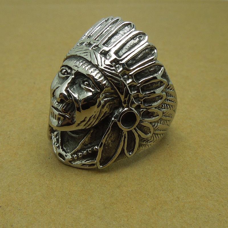 Men Punk Rock gothic Big Tripple Indian Chief Head ring Biker Titanium steel Finger Ring Fashion Jewelry - Mishion (min order $10 store)