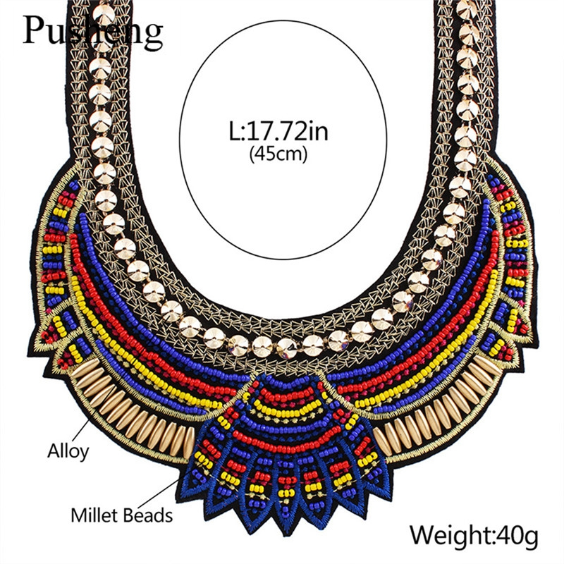 Pusheng 2016 Fashion Jewelry Mujer Bohemian Necklaces For Women Colorful Ethnic Beads Knitted Collier Choker Statement Necklaces