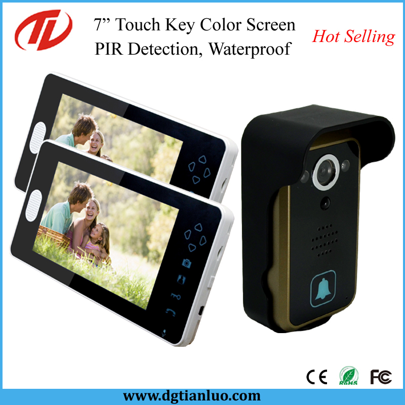 """PIR Detection Home Security Touch Screen 7"""" Wireless Video Door Bell with Night Vision(China (Mainland))"""