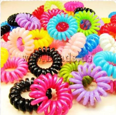 Free shipping Hair Elastic, plastic, telephone line tie, mixed color, 35-40mm, 100PCs/Bag, Sold by Bag
