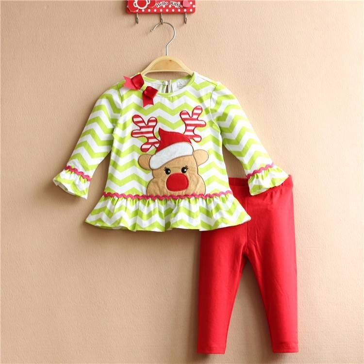 Free Shipping 6sets/lot Rare Editions 2015 New Christmas Elk Embroidered Tops and Leggings Set for 6M-3T Baby Girls<br><br>Aliexpress