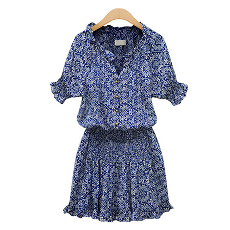 Free shipping in 2014 selling fashionable woman v-neck sleeve summer dress color printing chiffon dress Blue color S-XL FE3104(China (Mainland))
