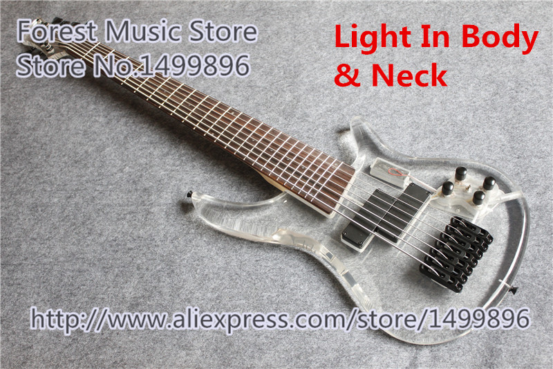 Hot Selling Acrylic Body 7 String Electric Bass Guitar 24 Frets China Bass With Light In Body & Neck(China (Mainland))
