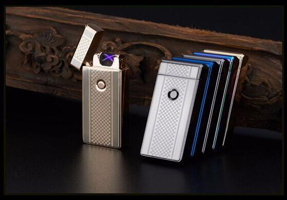 ถูก 5ชิ้น/ล็อตขายส่งราคาถูกบุหรี่ชาร์จUsbเบาบางเฉียบอิเล็กทรอนิกส์สำหรับสูบบุหรี่arcชีพจรเบาwindproof