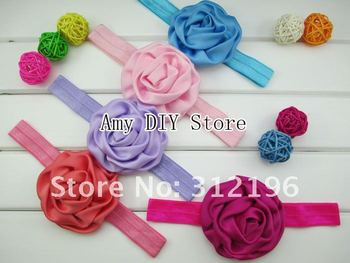 Free Shipping!30pcs/lot 3'' Matte Satin Rolled Rosettes Fascinating Poof Flower Shimmery, Soft, Stretchy, Satin Elastic Headband