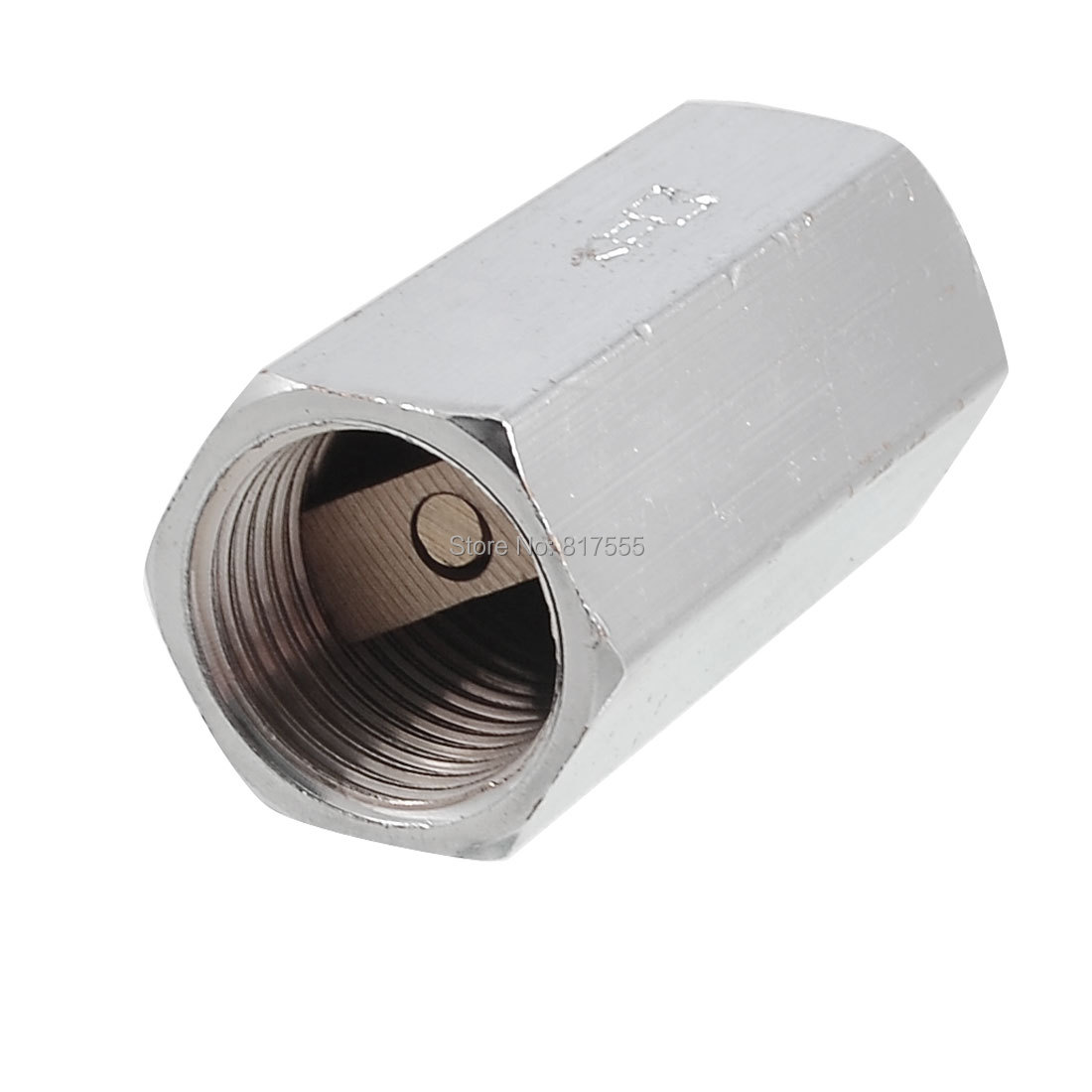"Silver Tone Solid Brass 1/2"" PT Thread Pull Port One Way Check Valve Discount 50(China (Mainland))"