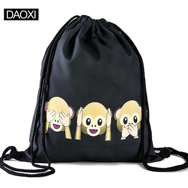 Emoji рюкзак 2015 новинка женщин рюкзаки 3D печать пакеты шнурок мешок для мужчин ...