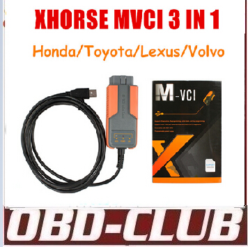 DHL Free Shipping Xhorse MVCI 3 IN 1 fortoyota TIS V10.10.028 hd him V2.018 forvolvo 2010A Support Multi-languages(China (Mainland))