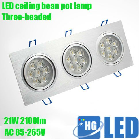 DHL Fedex Free shipping 21W Square LED bean pot lamp  Three-headed super bright indoor lights  --2 Year Warranty<br>