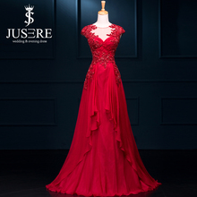 2017 NewA Line Chiffon Scoop Neck Floor Length Long Sequined Lace Appliques Ruffle Illusion Back Silk Chiffon Red Evening Dress(China (Mainland))