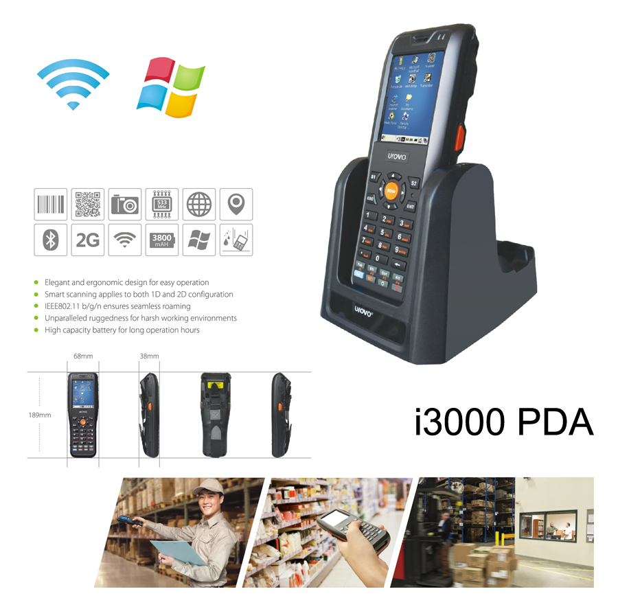 i3000WB Industrial Mobile Data Terminal, i3000 Handhold Terminal 3G PDA, Quad Core WIN CE 5 Industrial PDA with Barcode Scanner(China (Mainland))