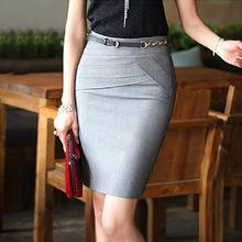 2014 New Summer Women Slim Hip Career Short Skirts Ladies Sexy High Waist Knee-Length Pencil Skirt 4 Colors Plus Size AZ115