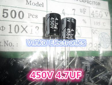Free shipping 50pcs 4.7UF 450V Electrolytic Capacitor 450V 4.7UF Aluminum Electrolytic Capacitor 10X17mm(China (Mainland))