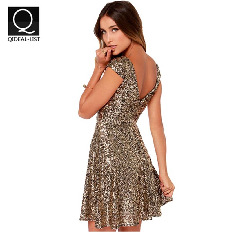 Qidaeal-L 2015 Summer Casual Dress Gold Sequins Dress Women V Backless Sexy Party Dresses Women Clothing New Fashion VestidosОдежда и ак�е��уары<br><br><br>Aliexpress