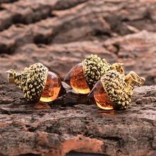 1piece Vintage Antique Bronze Silver Gold Plated Water Drop Suspension Glass Acorn Oak Pendant Necklace For Women(China (Mainland))