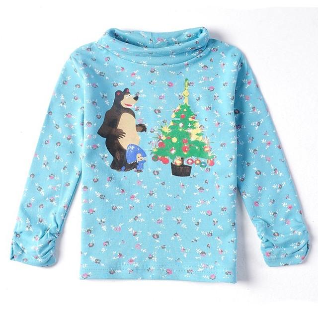 Розничная 2y / 6Y с длинным рукавом маша и медведь дети нова марка хлопка o-образным вырезом девочка майка майка детская одежда