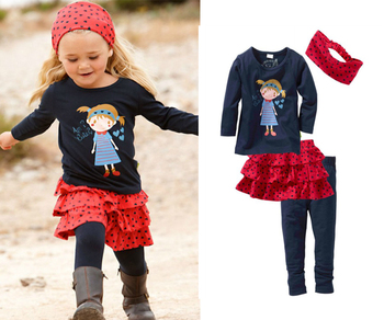 2015 girl child children's clothing long-sleeve casual suit 4 pieces