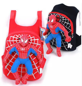 2015 New Arrival External Frame Mesh None Boys Hot Sale Chidren Backpack Spiderman Schoolbag Bag Spideman Infant Plush Toys(China (Mainland))