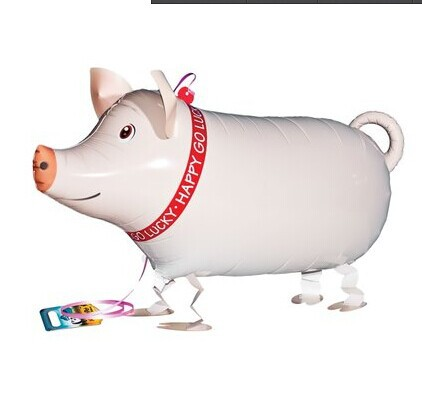 Free shipping 10pc NEW ARRIVAL Free shipping wholessale 10pcs/lot my own pet balloon Pig walking balloon(China (Mainland))