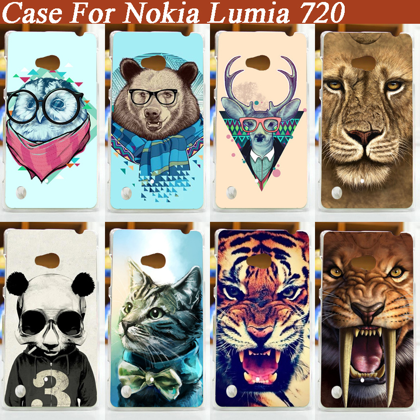 Cool Tiger Lion bear Cat Pattern Hard Case Cover for nokia lumia 720 nokia 720 protective case free shipping(China (Mainland))