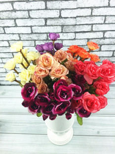 Free shipping 11 heads/pc 2pcs/lot Artificial flower silk rose flower decoration flower for home garden wedding party 35cm(China (Mainland))