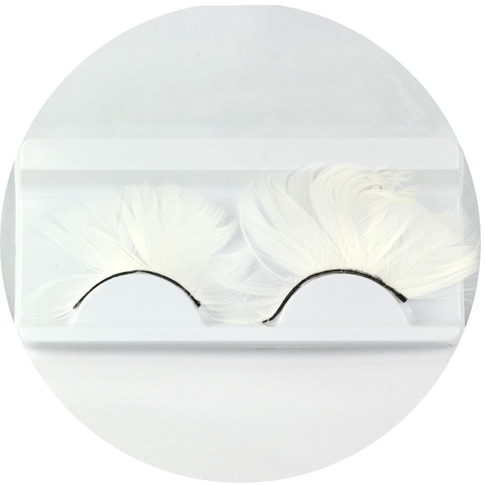 1 par/set colorido pena branca cílios postiços para a festa de Maquiagem ou exagerada Maquiagem – EYY08