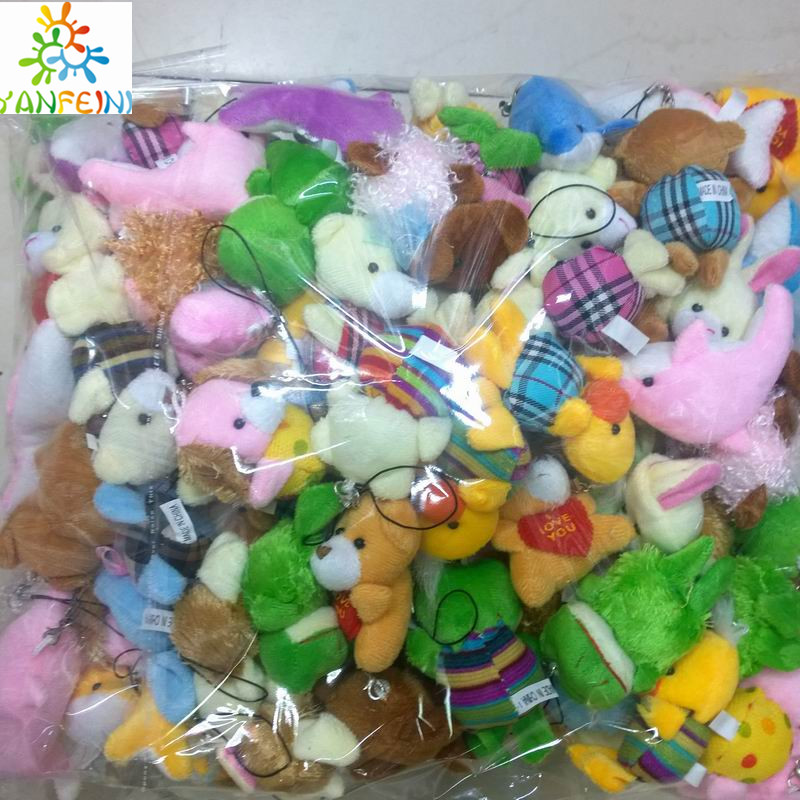Bulk 100pcs/lot Collection Of Plush Animals Various styles package Dolls For Phone/Key/Bag Pendants Soft kids toys(China (Mainland))