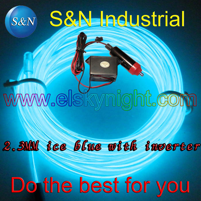 Ice blue 5M 12VDC Softy Neon Light EL Wire Rope Tube+ Ciggar plug Controller for Car creative decoration free shipping(China (Mainland))