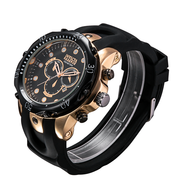 2015 hot high quality watch invicta men Top Brand Luxury Quartz watches men wristwatches silicone strap rose gold black relogio(China (Mainland))