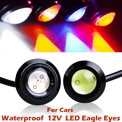 1pcs New DC 12V 3W Daytime Running LED Lights for All Cars High Bright Waterproof Eagle Eye Car Indicator External Lights(China (Mainland))