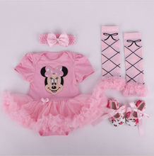 High Quality Girl Boy Suumer Suit Novelty Costume Baby Christmas Clothing Sets Minnie Mickey Party Cosplay Gift 0-3 6-9 12M 4pcs