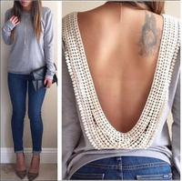 2015 Spring hoody New Backless hollow out Pullovers Casual Solid Lace Sweatshirt Long Sleeve Women Hoodies