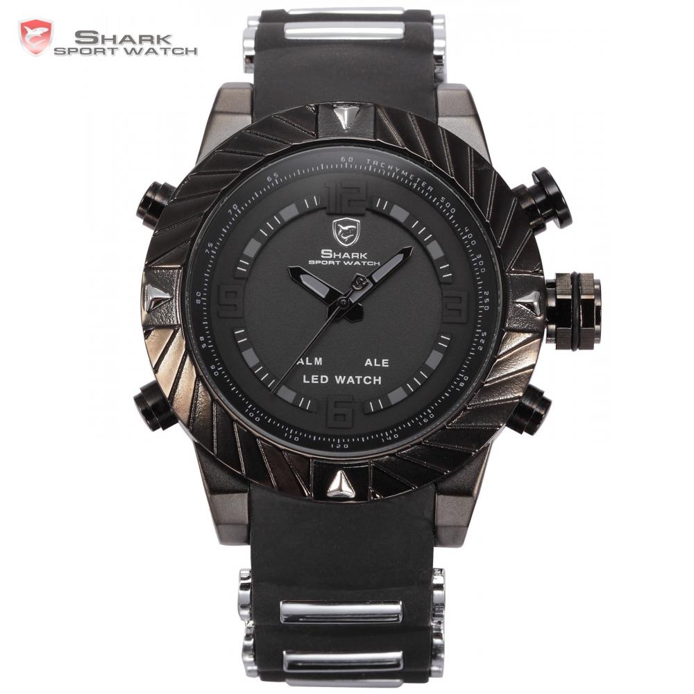 Goblin Shark Sport Watch 3D Logo Dual Movement Waterproof Full Black Analog Silicone Strap Fashion Men Casual Wristwatch / SH165(China (Mainland))
